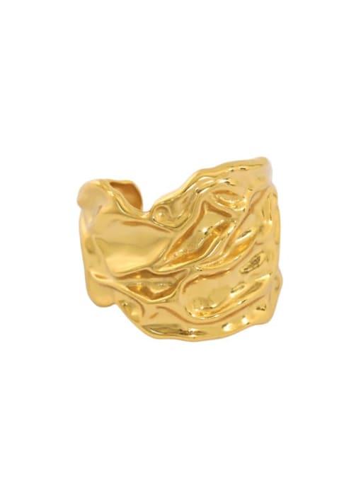 South Korea 18K gold [14 adjustable] 925 Sterling Silver Irregular Vintage Band Ring